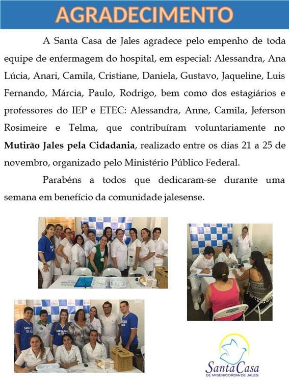 Santa Casa de Jales agradece a Etec