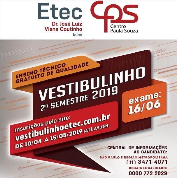 Vestibulinho Etec 2° Semestre 2019