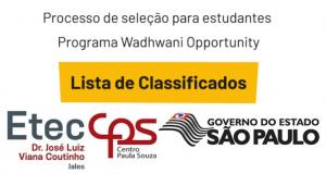 Alunos Classificados no Projeto do CPS em parceria com a Wadhwani Foundation