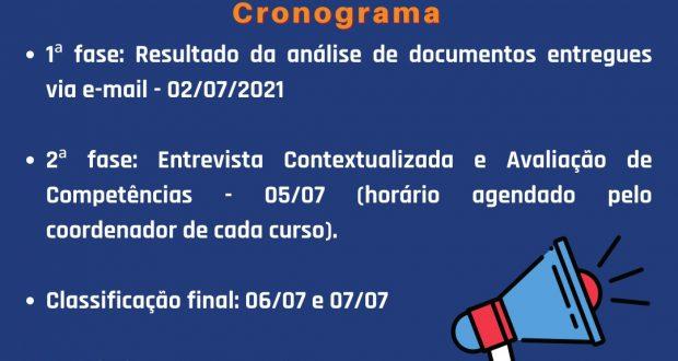 LISTA DE CLASSIFICAÇÃO DA SELEÇÃO ESPECIAL DE VAGAS REMANESCENTES 2º SEMESTRE 2021